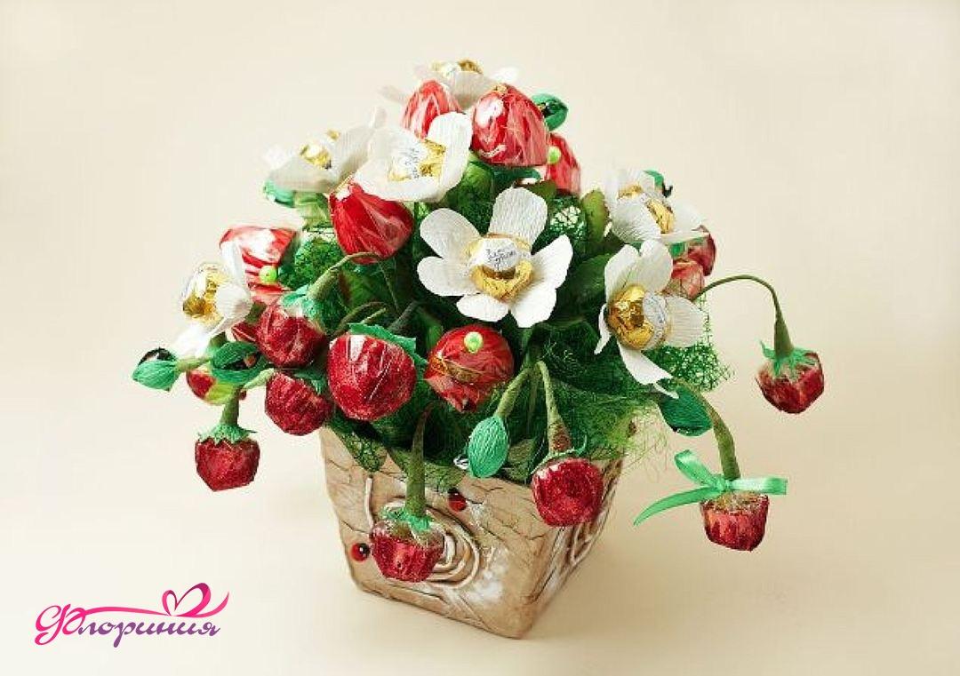 Как сделать флористические букеты из конфет